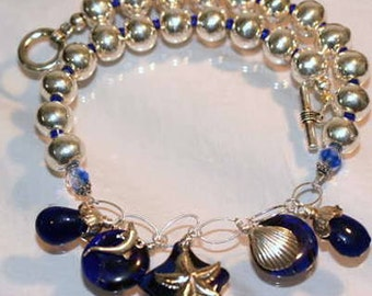 Navy Blue Cobalt Antique Sandwich Glass Nautical Necklace, Sterling Silver, Big Silver Balls