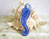 Ceramic Seahorse Christmas Ornament Holiday Decor Blue