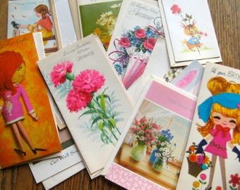 Twelve Vintage Greeting Cards from the 1950s, 1960s and 1970s with Envelopes and extra envelopes as well Paper Ephemera