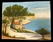 French Oil Painting Provence Mediterranean Sea Villa Pine Coast Riviera