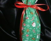 Holiday fabric gift bag reusable bottle bag