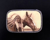 Western Belt Buckle Cowgirl Cowboy Interchangeable w snap belt.  Native American Indian with horse.  Womens belt buckle.  Mens belt buckle.