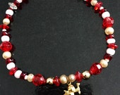 Valentine's Day red bead heart cupid angel charm beaded bracelet