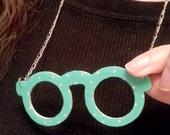 Green polka dot Glasses Necklace