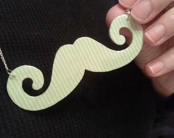 Minty Mustache Necklace