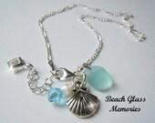 Sterling Silver Anklet -Aqua Sea Glass Anklet - Seaglass Anklet - Beach Glass Anklet