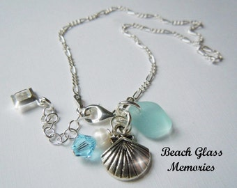 Sterling Silver Anklet -Aqua Sea Glass Anklet - Seaglass Anklet - Beach Glass Anklet