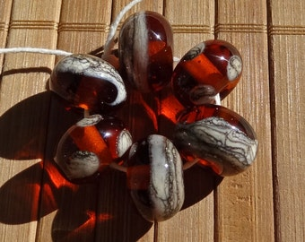 Amber with Silvered Ivory---Handmade LAMPWORK Bead Set