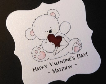 20 Personalized Valentine Tags - Candy Tags - Valentine's Day Tags - Party Favor Tags - White Bear Holding Valentine - 2 X 2 Square Tags