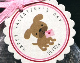25 Personalized Valentine Favor Tags - Gift Tags - Valentine's Day Tags - Valentine Tags - Pink - Brown Puppy Holding Valentine