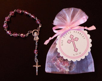 Mini Rosary Favor Sets - Girls Baptism Favor - Christening Favor - Communion Favor - First Communion Favor  - Pink - Cross - Girls