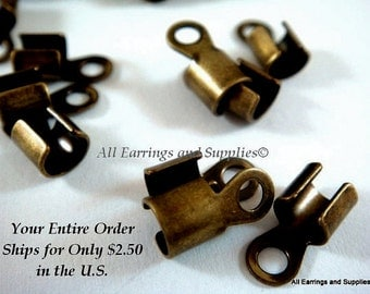 24 Antique Gold Cord Ends 10x5mm fits 2-4mm Cord Plated Brass - 24 pc - 6263-16