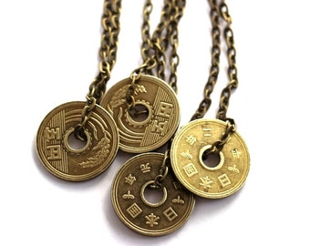 Japanese Yen Coin Necklace Authentic Undrilled Upcycled Pendant Jewelry by Hendywood