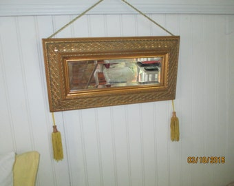Vintage  Wall Mirror   Gold  Wood Frame Either Straight or Angled