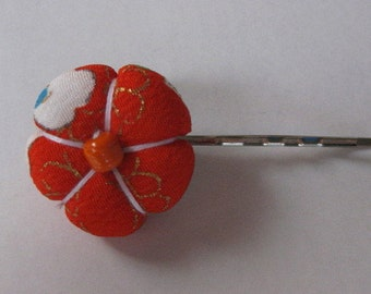 Ume (plum blossom) Bobby Pin - Kimono Fabric, Hair Accessory, Japanese Hair Pin, Flower, Kawaii, Handmade, Bobby Pin, Hair Pin