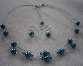 SALE Three Stranded Teal Blue Floating Pearls Necklace and Earrings Sets