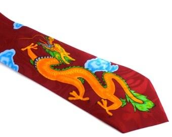 Men's Tie with Dragon Design - 1970s neckwear - Gold City Tie, dragon, red, gold, men's tie, menswear, red tie with dragon design