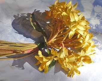 Vintage Millinery Flowers Yellow Cotton Flowers