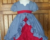 Emily Navy Gingham with Red Ruffled Panel