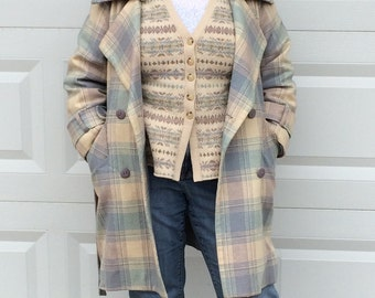 Plaid Coat . plaid wool coat . plaid wool  . retro plaid coat .  Vintage Plaid Wool Trench Coat