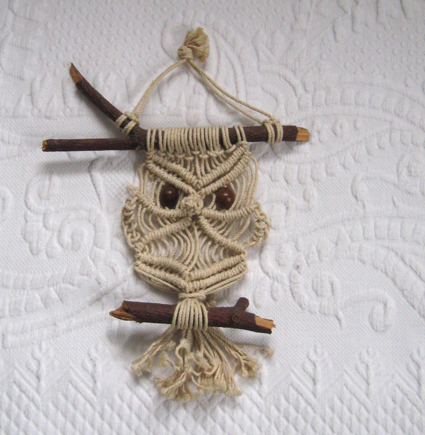 macrame owls macrame owl wall hanging by vintagous on etsy 9136