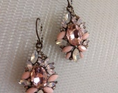 Faceted Pink and Opal Statement Crystal, Rhinestones and Acrylic Earrings, Deco Drop Faceted Earrings, Fashion, Funky Earrings,