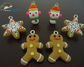 Handmade Clay Pendants, - Christmas Selection, Snowman, Snowflake, Gingerbread Man - 6x