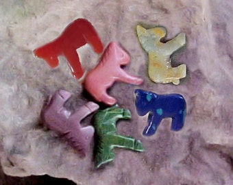 LOT of 6 carved Horse Fetish Animal Beads Mixed stone for crafts  Lot H22