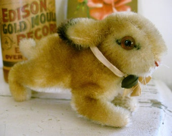 Vintage Steiff Mohair Bunny Rabbit with Ribbon And Bell