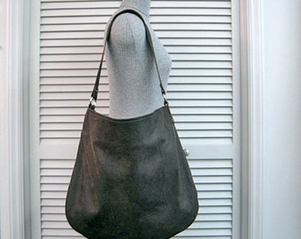 """SHOP CLOSING Sale-Large """"HOBO Slouch"""" Bag-Shoulder Purse-Tote-Moss Green Genuine Leather-Antique Finish-Holds Lap Top or Tablet-Handmade"""