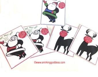 Funny Santa Christmas Greeting Card with Pinback