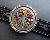 Vintage Peace Sign and Colorful Glass Flowers Belt Buckle and Leather Strap with Free Shipping!