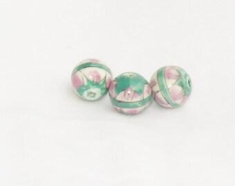 Beads, Ceramic, teal, pink, transfers, jewelry, supplies, F, destash