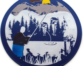 Blue Fly Fishing Table Trivet, Table Placemat, Kitchen Placemat, Kitchen Hot Pad