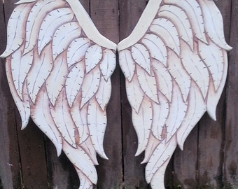 Carved Wood Angel Wings in Gabriel 33L x 34W Cream Brown and Sepia Tones