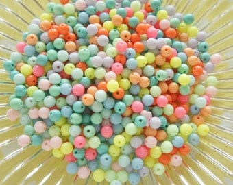 100 pcs Pastel Neon Mixed Colors Beads (6mm) Solid AZ128