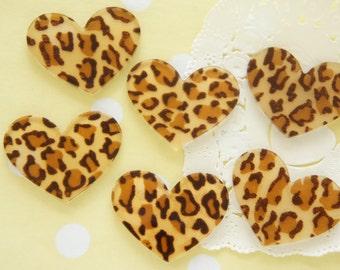 8 pcs Acrylic Leopard Heart Plate / Cabochon (31mm25mm) IK143