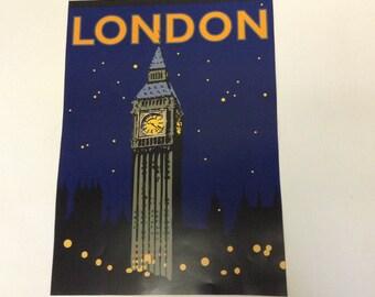 90s Vintage Big Ben London poster