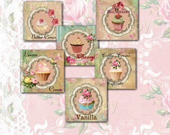 INSTANT DOWNLOAD - 1 Inch Squares  - CUPCAKES -  Collage Sheet - Printable Download - Gift Tags - Scrapbook