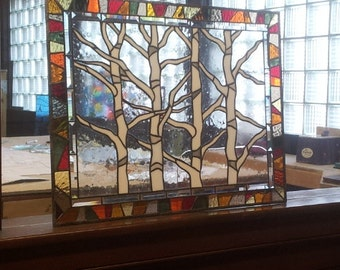 """Stained glass Hanging Windows - """"Autumn Trees"""" (P-44)"""