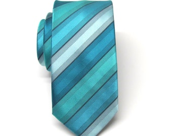 Mens Ties Teal Green and Blue Stripes Skinny Necktie