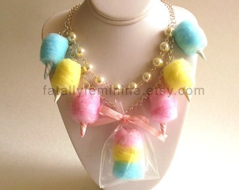 Cotton Candy Necklace Carnival Cotton Candy Statement Necklace Pinup Rockabilly Pastel Rainbow Jewelry Fairy Kei Kawaii Necklace