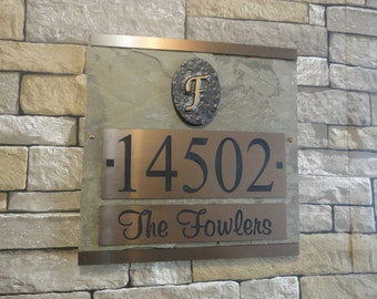 Monogram HOUSE NUMBERS Customized Address Plaque