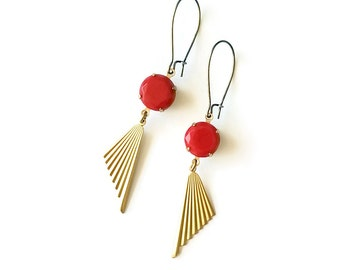 Cherry Red Earrings Art Deco Style - Fans Earrings - Ribbed - Geometric Jewelry - Triangle  - Achilles Earrings (SD0937)