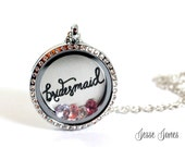 BRIDESMAID Wedding Necklace, Floating Locket Rhinestone, Personalized with up to 4 Wedding Color Crystals, Wedding Jewelry