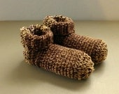 Crochet Slipper Socks Booties Browns and Tans Size Large Size 10 11