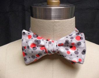 Grey Black & Red Polka Dot Bow Tie