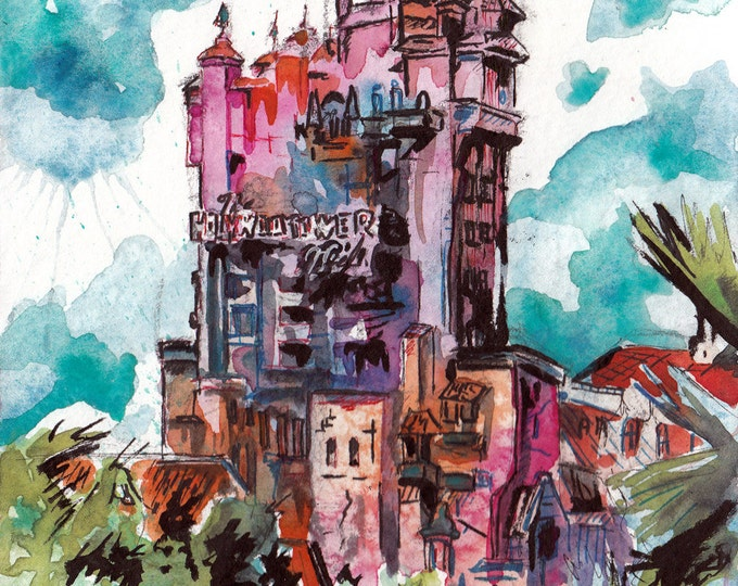 Featured listing image: The Hollywood Tower Hotel Art - Print of Original Watercolor and Ink Painting of the Twilight Zone Tower of Terror by Jen Tracy