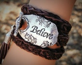 Inspirational Leather Wrap Bracelet, Inspirational Leather Jewelry, Inspirational Sterling Silver Leather Bracelet, Wrap Bracelet, BELIEVE