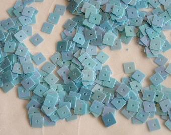 New Item -- 7g of 5 mm Flat Square Sequins in Iris Aqua Blue Color